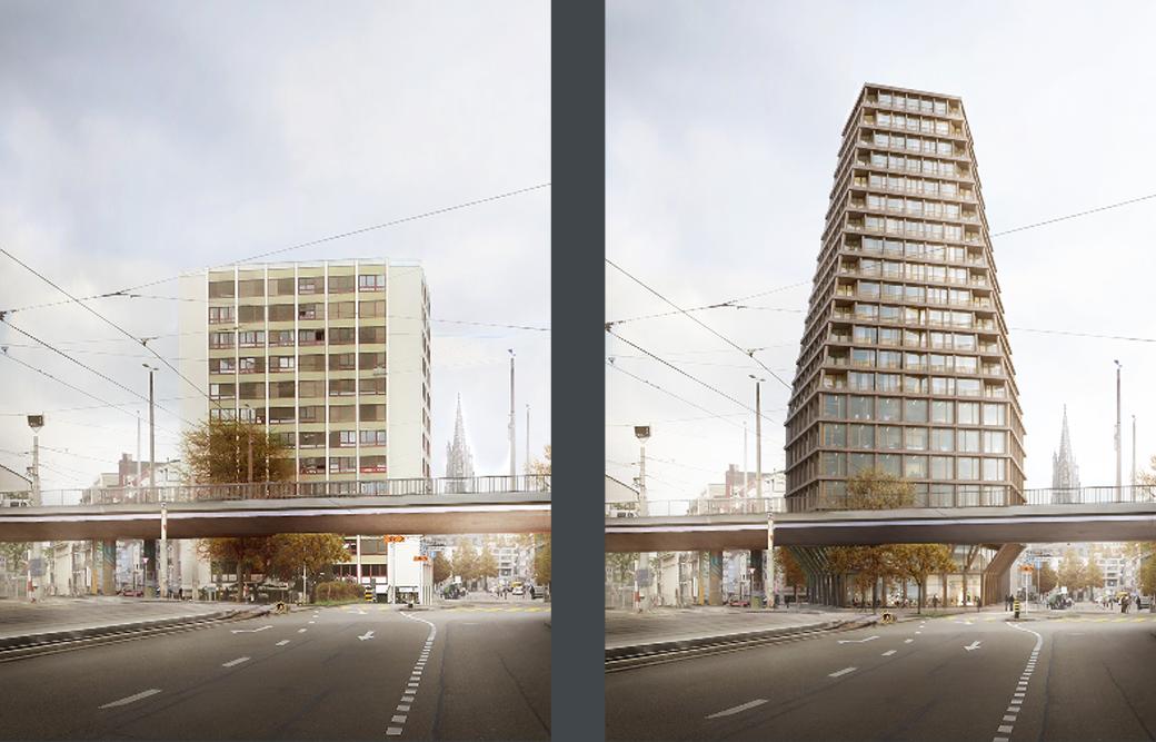 Neubau Hochhaus Heuwaage: Vorher und Nachher im Vergleich