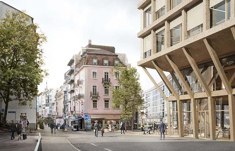 Hochhaus Heuwaage mit neumem Platz am Anfang der Steinenvorstadt
